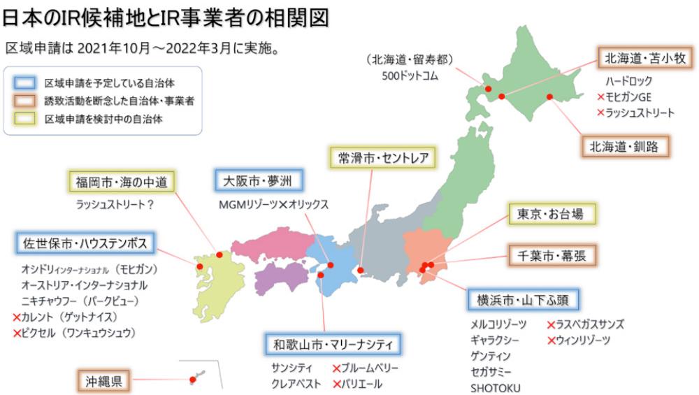 日本のIR候補地とIR事業者の相関図 | IGS カジノスクール(学校) インターナショナル・ゲーミング・スクール 大阪